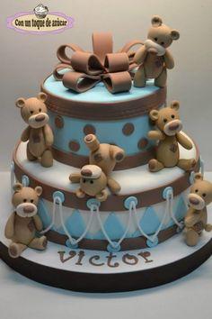 Bears baby shower cake, tarta bautizo ositos - Cake by Con un ...                                                                                                                                                                                 Más