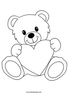 Orsetto con cuore da colorare - TuttoDisegni.com Art Drawings Sketches Simple, Art Drawings For Kids, Drawing For Kids, Easy Drawings, Bear Coloring Pages, Coloring Sheets, Coloring Books, Quilt Baby, Applique Patterns