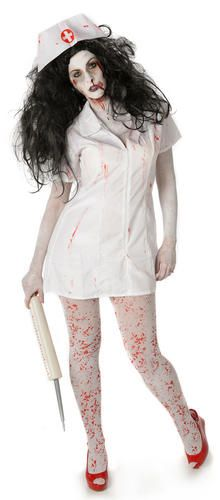 e929679280c0b Undead Zombie Nurse Tights Ladies Halloween Fancy Dress Womens Adults  Costumes#Tights#Ladies#Nurse
