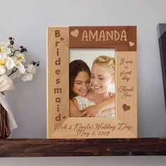 Bridesmaid Picture Frame, Personalized Picture Frames 4x6, Wooden Picture Frames 5x7, Bridesmaid Gift Ideas by MarketingHills on Etsy Personalized Gifts For Dad, Personalized Picture Frames, Personalised Box, Wedding Picture Frames, Wooden Picture Frames, Bridesmaid Pictures, Appreciation Message, Gifts For Father, Bridesmaid Gifts
