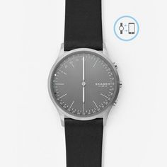 Jorn Connected Titanium and Leather Hybrid Smartwatch   SKAGEN®   Free Shipping
