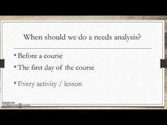 Needs analysis EFL ESL ELT - YouTube