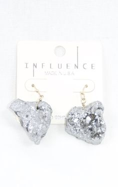 http://ptbchic.com/collections/all/products/cracked-stone-dangle-earrings-in-silver  #Earrings #Silver