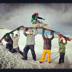 Snowboarding with a little help from your friends. http://www.aionheadwear.com