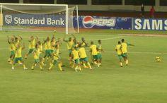 Les Bafana Bafana lors de l'échauffement pendant la CAN 2008 .