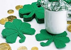 LeisureArts, online store for shamrock plastic canvas with crochet coasters patterns. Shamrock coasters will bring the luck o' the Irish to your St. Plastic Canvas Coasters, Plastic Canvas Crafts, Plastic Canvas Patterns, Plastic Craft, Deco St Patrick, Sant Patrick, Dance Crafts, Crochet Coaster Pattern, Craft Patterns