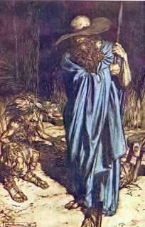 """Mime and the Wanderer lithograph by Arthur Rackham [published in """"Siegfried & The Twilight of the Gods"""", facing page from Act Scene of """"Siegfried"""" by Richard Wagner Arthur Rackham, German Mythology, Norse Mythology, Norse Vikings, Fairytale Art, Viking Age, The Magicians, Illustrators, Illustration Art"""
