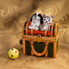Limoges Cat and Dog in Carrying Case Box