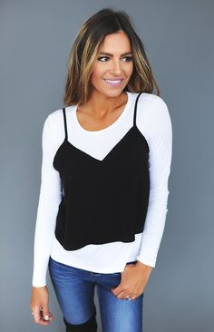White Long Sleeve/Black Overlay Top - Dottie Couture Boutique