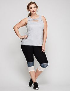 These LIVI Active capri leggings add fresh air (and style) to your workout via the colorblocked mesh leg detail. TruDry Wicking benefits include: Supportive stretch, fade resistant, moisture-wicking and quick-drying TruDry nylon/spandex fabric. Elastic waistband with hidden pocket (perfect for a credit card or a key). lanebryant.com