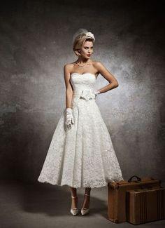 Vintage Wedding Dress Tea Length Lace US4 6 8 10 12 14 White Ivory in Stock New | eBay