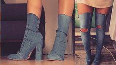 DIY Overknees & Yeezy Heels aus Jeans I QUICK EASY DENIM YEEZY BOOTS & OVERKNEES WITH GLUE I Marina - YouTube