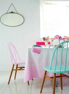 DINING // PINK // MINT // OMBRE // CANDY COLORS // PASTEL // DIY