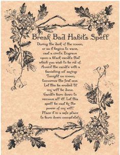 BREAK BAD HABITS SPELL Page for Book of Shadows BOS Pages Witchcraft Wicca Page | Collectibles, Religion & Spirituality, Wicca & Paganism | eBay!