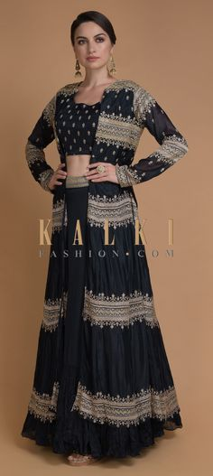 Buy Online from the link below. We ship worldwide (Free Shipping over US$100)  Click Anywhere to Tag Midnight-Blue-Jacket-Lehenga-With-Thread-And-Cut-Dana-Work-Online-Kalki-Fashion Jacket Lehenga, Indian Designer Wear, Midnight Blue, Indian Outfits, Crop Tops, Free Shipping, Wedding Dresses, Link, Mehendi