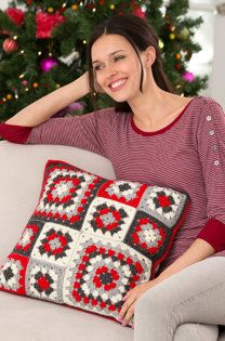 Mod Holiday Granny Pillow in Red Heart Detroit - LW4358EN