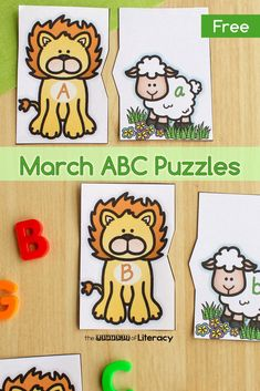 FREE Lion and Lamb Printable Alphabet Puzzles for your Pre-K and Kindergarten Literacy Centers. With many ways to play this letter matching activity is perfect for your classroom this spring! #alphabet #lettermatch #freeprintable #march #abcpuzzle