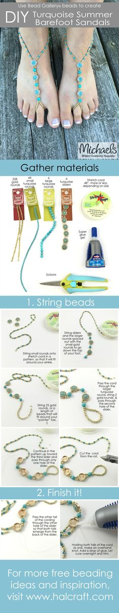 DIY Barefoot Sandals by Molly Schaller featuring Bead Gallery beads available at Michaels Stores Beaded Sandals, Beaded Anklets, Beaded Jewelry, Handmade Jewelry, Diy Barefoot Sandals, Bare Foot Sandals, Footless Sandals, Diy Schmuck, Summer Diy