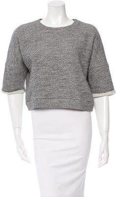 Derek Lam Three-Quarter Sleeve Cropped Sweatshirt Derek Lam, Grey Sweatshirt, Quarter Sleeve, Hoodies, Sweatshirts, Stylish, Sleeves, Sweaters, Tops