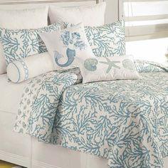 Cora Blue Coral Cotton Coastal Quilt Bedding #guest #bedroom http://www.touchofclass.com/t/Product.aspx?p=E034-001