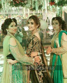 Bridal Mehndi Dresses, Pakistani Bridal Makeup, Asian Bridal Dresses, Pakistani Wedding Outfits, Pakistani Dresses, Kids Party Wear Dresses, Girls Dresses, Sangeet Outfit, Eastern Dresses