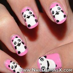 pink panda nails - Nail Designs & Nail Art