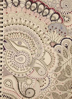 would translate well into stitching! gorgeous doodling - phoenix by robynejay, via Flickr