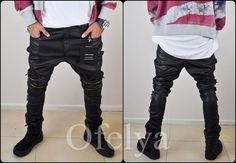 Men's Dark Biker Drop Crotch Side Pocket False Zippers by Ofelpan