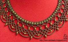 Lacy Netting with Pearl Necklace