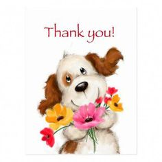 Shop Thank you, cute dog with flowers. postcard created by makiko_art. Thank You For Birthday Wishes, Thank You Wishes, Thank You Greetings, Thank You Cards, Happy Birthday, Birthday Greetings, Birthday Message, Thank You Quotes For Helping, Thank You Memes