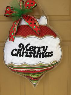 A personal favorite from my Etsy shop https://www.etsy.com/listing/571739019/burlap-door-hanger-ornament-merry