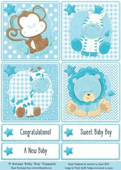 4 Sweet Baby Boy Toppers on Craftsuprint - View Now!