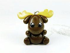 Kawaii Brown Moose Charm Necklace Polymer Clay