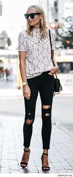 Lace top, black pants and sandals - LadyStyle