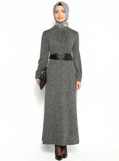 Yakası Büzgülü Elbise - Siyah - Refka