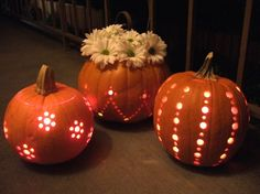 Pumpkins carved with a drill - Click image to find more Holidays & Events Pinterest pins