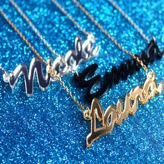 Personalised cursive name necklace - laser cut mirror acrylic
