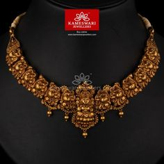 Buy Necklaces Online | Elegant Deep Nakashi Laksmi Necklace from Kameswari Jewellers Gold Temple Jewellery, Gold Wedding Jewelry, Gold Jewelry Simple, Bridal Jewelry, Jewelry Design Earrings, Gold Jewellery Design, Necklaces, Deep, Elegant