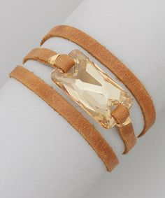 Take a look at the ADA Collection Tan & Champagne Jacy Gold & Leather Wrap Bracelet on #zulily today!