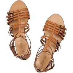 J.Crew Milano leather gladiator sandals ($89) ❤ liked on Polyvore featuring shoes, sandals, flats, footwear, j crew sandals, greek sandals, j crew shoes, flat shoes and flats sandals