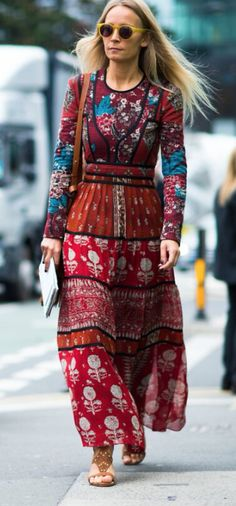 With the right accessories, a long sleeved maxi in a bohemian print can be fall-friendly.