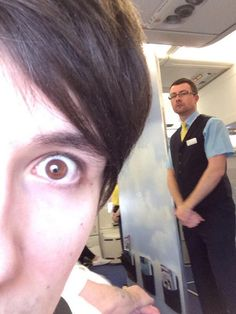 Dan taking a selfie with the air hostess ;) oh Dan>>>Air Hostess: What are you doing young whippersnapper