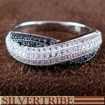 White And Black Cubic Zirconia Sterling Silver Ring
