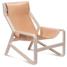 Toro Modern Tan Saddle Leather Sling Lounge Chair