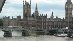 This is a view of Big Ben from inside the London Eye