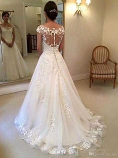 2016 Modest New Lace Appliques Wedding Dresses A line Sheer Bateau Neckline See Through Button Back Bridal Gown Cap Sleeves Vestidos Wedding Dresses For Sale, Cheap Wedding Dress, Bridal Dresses, Wedding Gowns, Lace Wedding, Applique Wedding Dress, Wedding Dress Sleeves, Ball Dresses, Marie