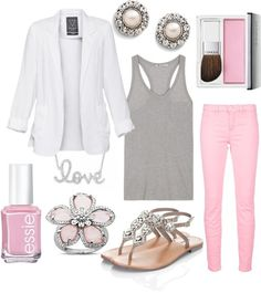 White blazer, grey racerback tank top, light pink skinny jeans, and rhinestone jeweled sandals