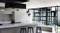 Urbain Moderne Residence - St Kilda, Melbourne - Cos Intérieurs Pty Ltd Industrial Chic Kitchen, Small Half Baths, Classic Bathroom, Modern Bathroom, Australian Homes, Kitchen Living, Kitchen Sink, Contemporary Bedroom, Bathroom Renovations