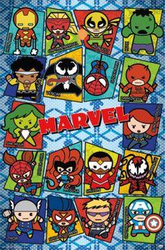 Marvel Superheroes Kawaii Grid Poster - Visit to grab an amazing super hero shirt now on sale! Marvel Fan, Marvel Dc Comics, Marvel Heroes, Marvel Avengers, Poster Marvel, Univers Marvel, Batman Wonder Woman, Nerd, Marvel Universe