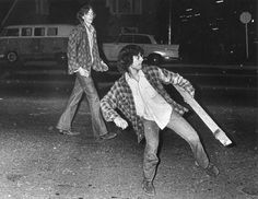 Rioters outside the Pacific Coliseum during the Rolling Stones concert, Vancouver Sun, 5 June 1972